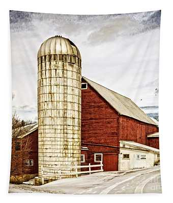 Red Barn And Silo Vermont Tapestry