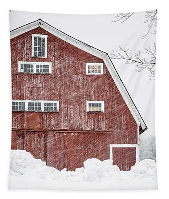 Red Barn Whiteout Tapestry