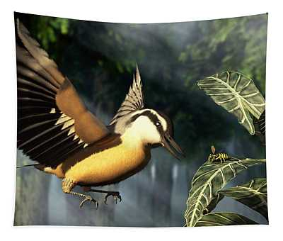 Red Breasted Nuthatch Eating Yellow Jacket Tapestry
