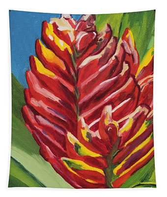 Red Bromeliad Tapestry