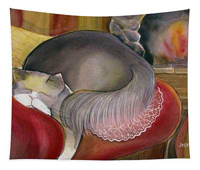 Sleeping Persian Cat On Red Sofa Tapestry