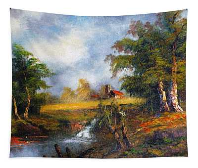 Red Cottage Tapestry