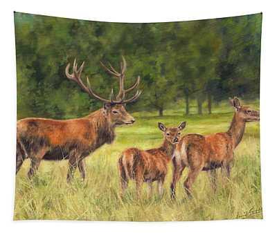 Red Deer Family Tapestry