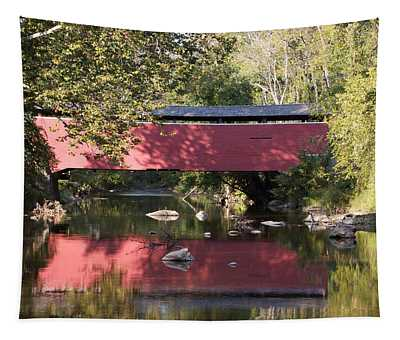 Red Fairhill Covered Bridge Two Tapestry