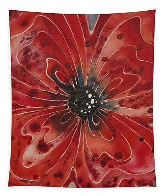 Red Flower 1 - Vibrant Red Floral Art Tapestry
