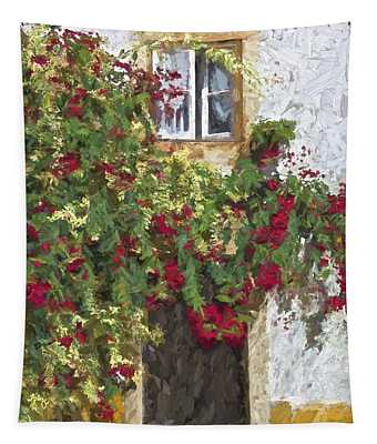Red Flowers On Vine Tapestry
