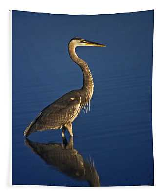 Red Heron Wading Tapestry