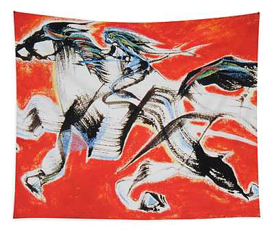 Red Horse And Rider Tapestry
