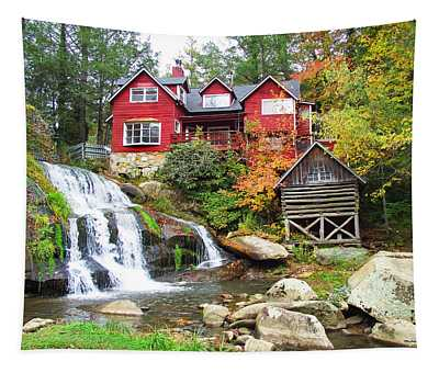 Red House By The Waterfall Tapestry