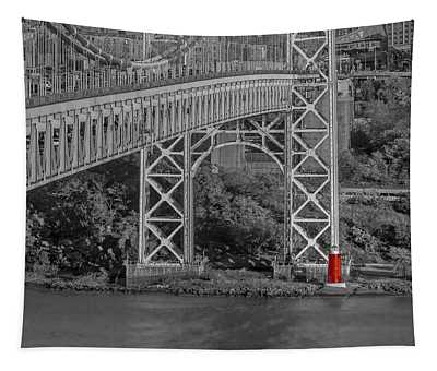 Red Lighthouse And Great Gray Bridge Bw Tapestry