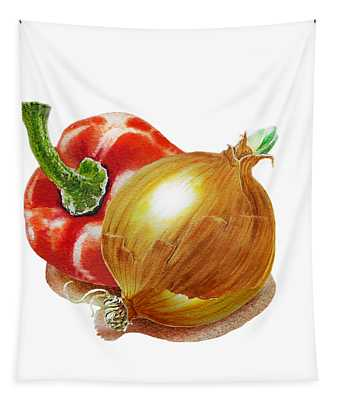 Red Pepper And Yellow Onion Tapestry