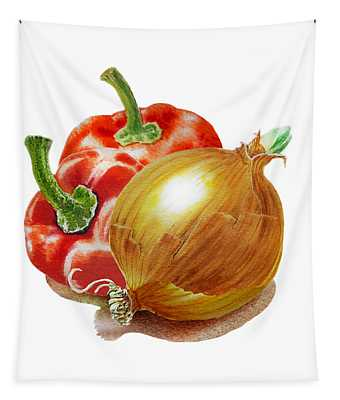 Red Peppers And Onion Tapestry