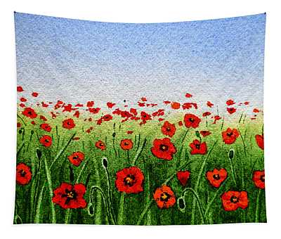 Red Poppies Green Field And A Blue Blue Sky Tapestry