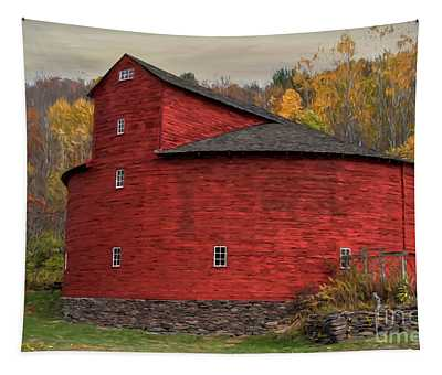 Red Round Barn Tapestry