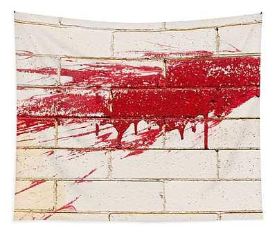 Red Splash On Brick Wall Tapestry