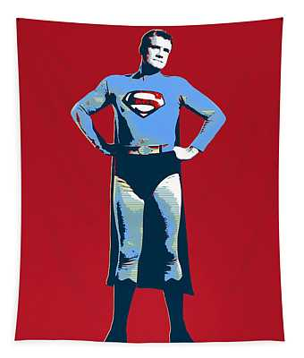 Red Superman Tapestry