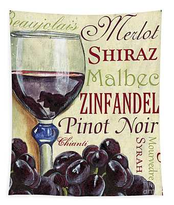 Red Wine Text Tapestry