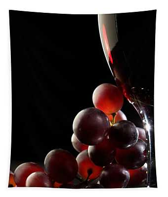 Red Wine With Grapes Tapestry