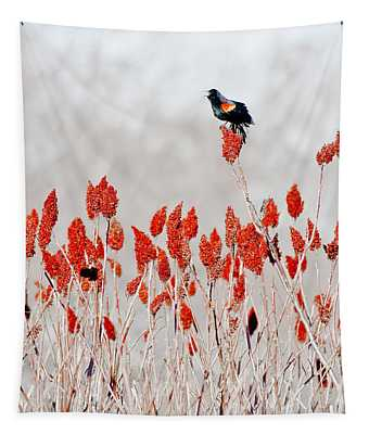 Red Winged Blackbird On Sumac Tapestry