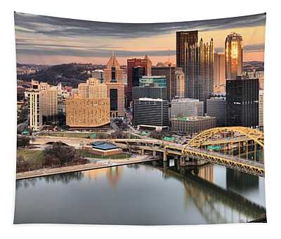 Reflections Of Pittsburgh Panorama Tapestry