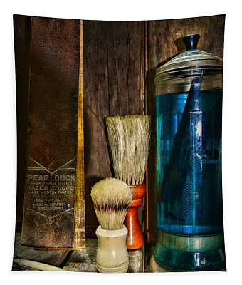 Retro Barber Tools Tapestry