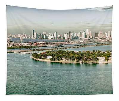 Retro Style Miami Skyline And Biscayne Bay Tapestry