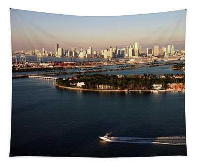Retro Style Miami Skyline Sunrise And Biscayne Bay Tapestry