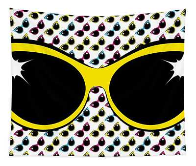 Retro Yellow Cat Sunglasses Tapestry