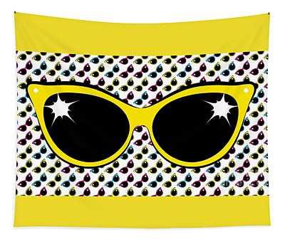 Retro Yellow Cat Sunglasses Tapestry