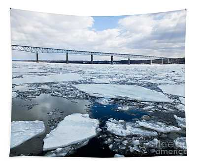Rhinecliff Bridge Over The Icy Hudson River Tapestry