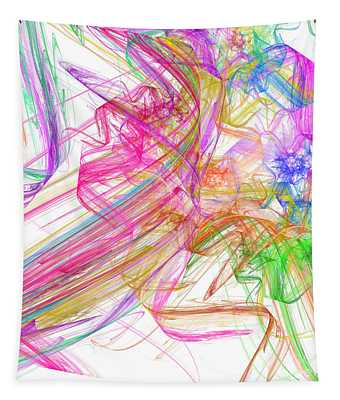 Ribbons And Curls White - Abstract - Fractal Tapestry