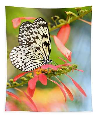 Rice Paper Butterfly In The Garden Tapestry