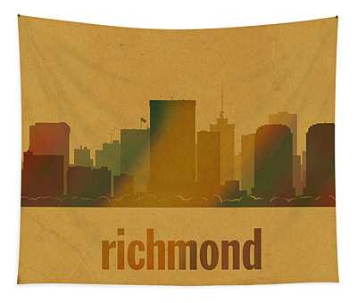 Richmond Virginia City Skyline Watercolor On Parchment Tapestry