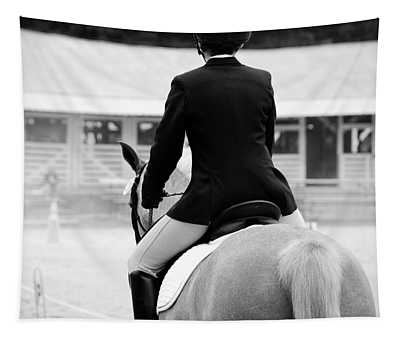 Rider In Black And White Tapestry