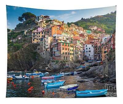 Riomaggiore Boats Tapestry