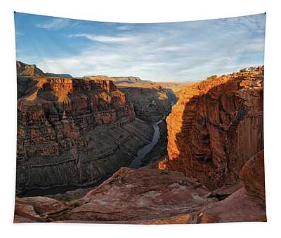 River Passing Through Mountains Tapestry