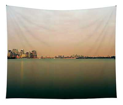 River With The City Skyline And Statue Tapestry