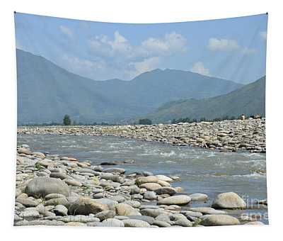 Riverbank Water Rocks Mountains And A Horseman Swat Valley Pakistan Tapestry