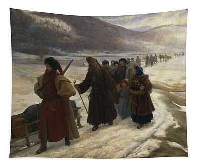 Road To Siberia Oil On Canvas Tapestry