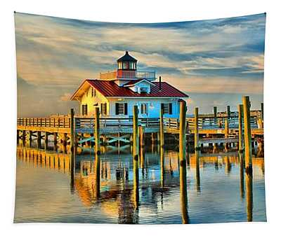 Roanoke Marsh Lighthouse Dawn Tapestry