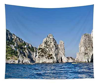 Rock Formations In The Sea, Faraglioni Tapestry