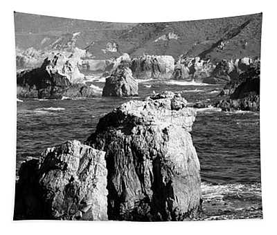 Rock Formations On The Beach, Big Sur Tapestry