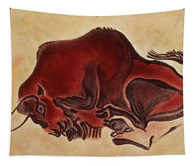 Rock Painting Of A Bison, Late Magdalenian, 13000 Bc Tapestry