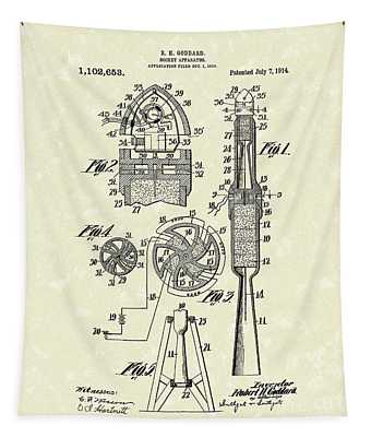 Rocket 1914 Patent Art Tapestry