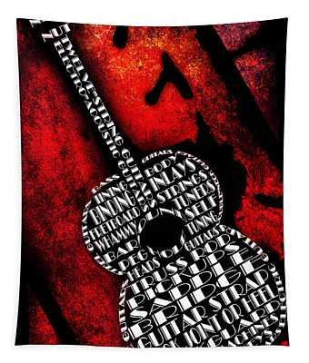 Rockin Guitar In Red Typography Tapestry