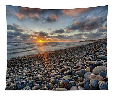 Rocky Coast Sunset Tapestry