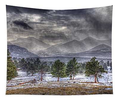 Rocky Mountain Snow Storm Estes Park Colorado Tapestry