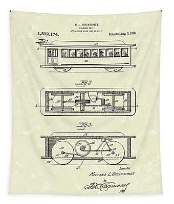 Rolling Toy 1919 Patent Art Tapestry