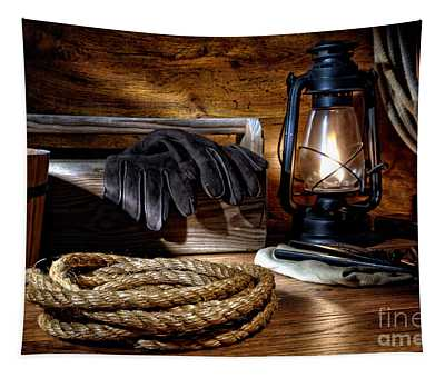 Rope In The Ranch Barn Tapestry