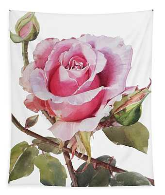 Watercolor Of Pink Rose Grace Tapestry